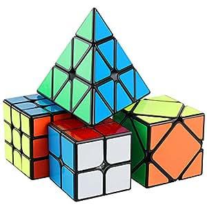 D-Fantix Speed Cube Bundle Pack MF2S 2x2 MF3R2S 3x3 Skewb Pyramid 3x3x3 Magic Cube Puzzle Toys Collection Set Black