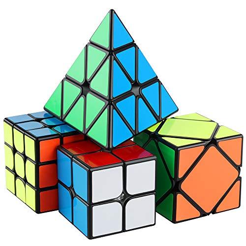 - D-FantiX Speed Cube Set 2x2 3x3 Speed Cubes Mofang Jiaoshi MF2S MF3RS2 Skewb Pyramid Speed Cube Bundle Pack Collection Black