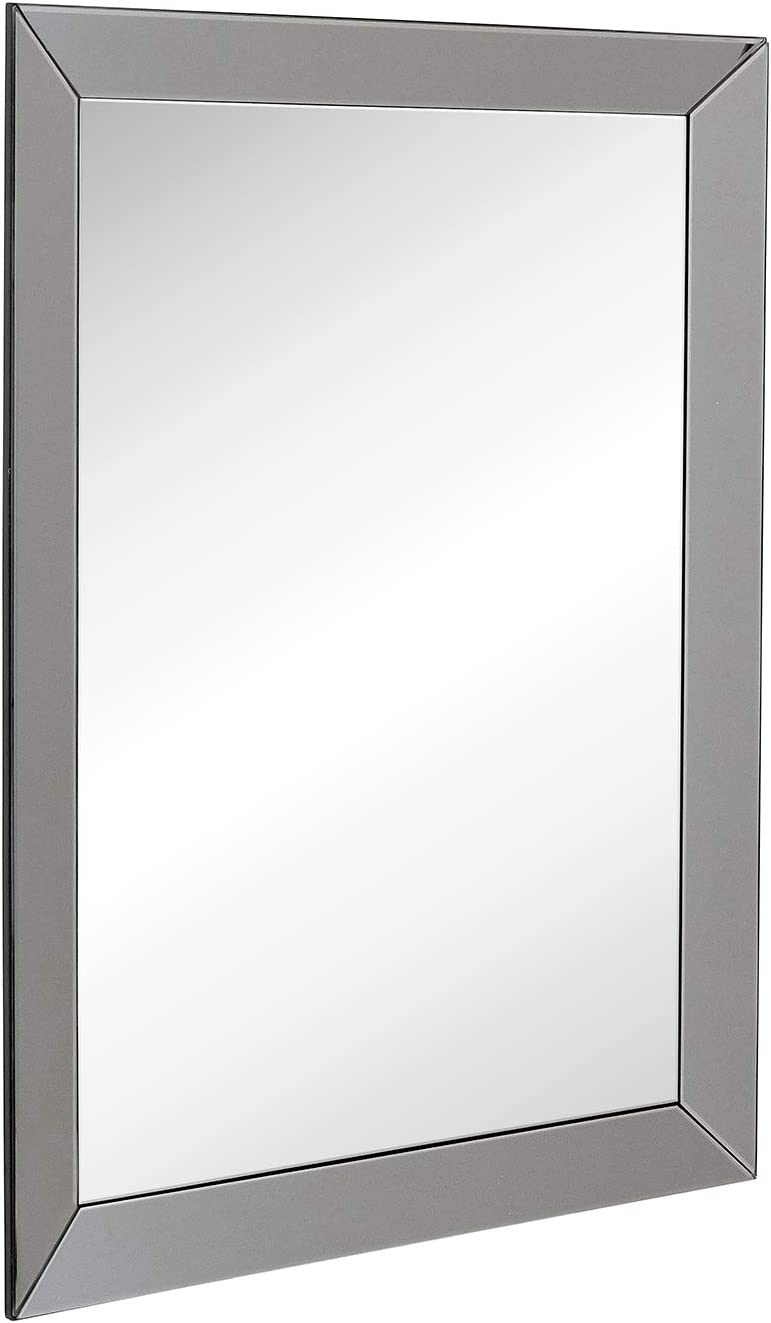 Hamilton Hills Large Framed Wall Mirror with Smoke Gray 3 Inch Angled Beveled Mirror Frame Vanity, Bedroom, or Bathroom Mirrored Rectangle Hangs Horizontal or Vertical 30 x 40