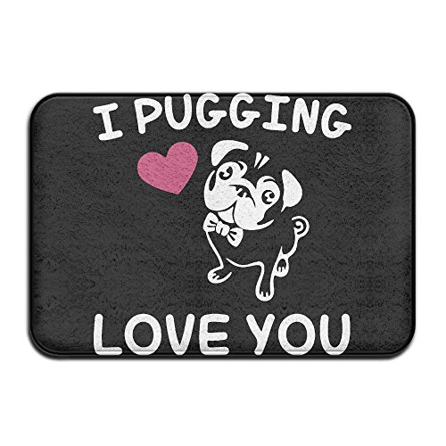 Love You – Pug Antislip Car Carpet Bath Rug by Mat_Rug&