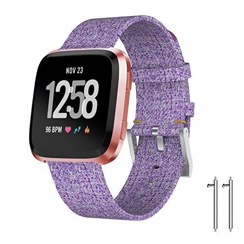 Junboer Replacement Band Compatible Fitbit Versa with Charcoal Woven and Metal Buckle Fitness Wristband ()