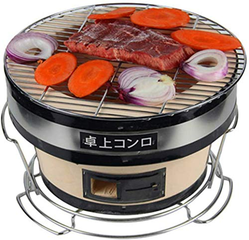 Seny Japanese Korean Ceramic HIBACHI BBQ Table Grill Large Yakatori Charcoal Grill (Circle) 11D x 7Hinches