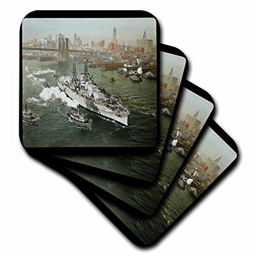 3dRose CST_16088_4 World War II American Battleship on The Hudson River New York City-Ceramic Tile Coasters, Set of 8