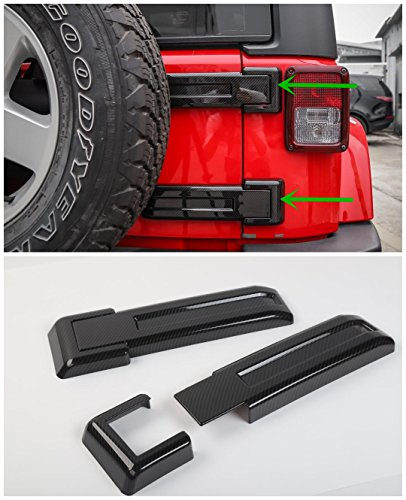 FMtoppeak 3Colors ABS Exterior Styling Rear Door Spare Tire Hinge Cover Trim For Jeep Wrangler 2007-2017 (Carbon Fiber)