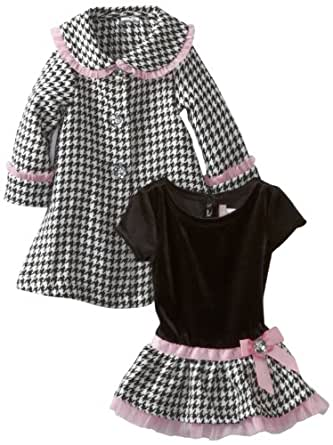 Youngland Baby Girls' Houndstooth Coat Set, Black/White, 24 Months
