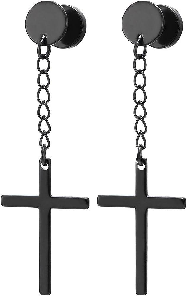 1 Paire Cercle Boucles doreilles avec Pendantes Croix pour Homme Femme Gar/çons Revisser Acier Inoxydable