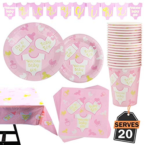 82 Piece Girl Baby Shower Party Set Including Banner, Plates, Cups, Napkins, Tablecloth, Serves 20 ()
