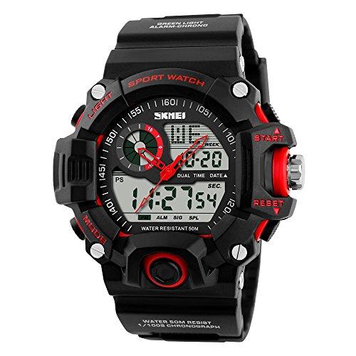 SKMEI Waterproof Digital Analog Sports Watch Hybrid Watch Rubber Band Quartz Dial Wristwatch (Red)