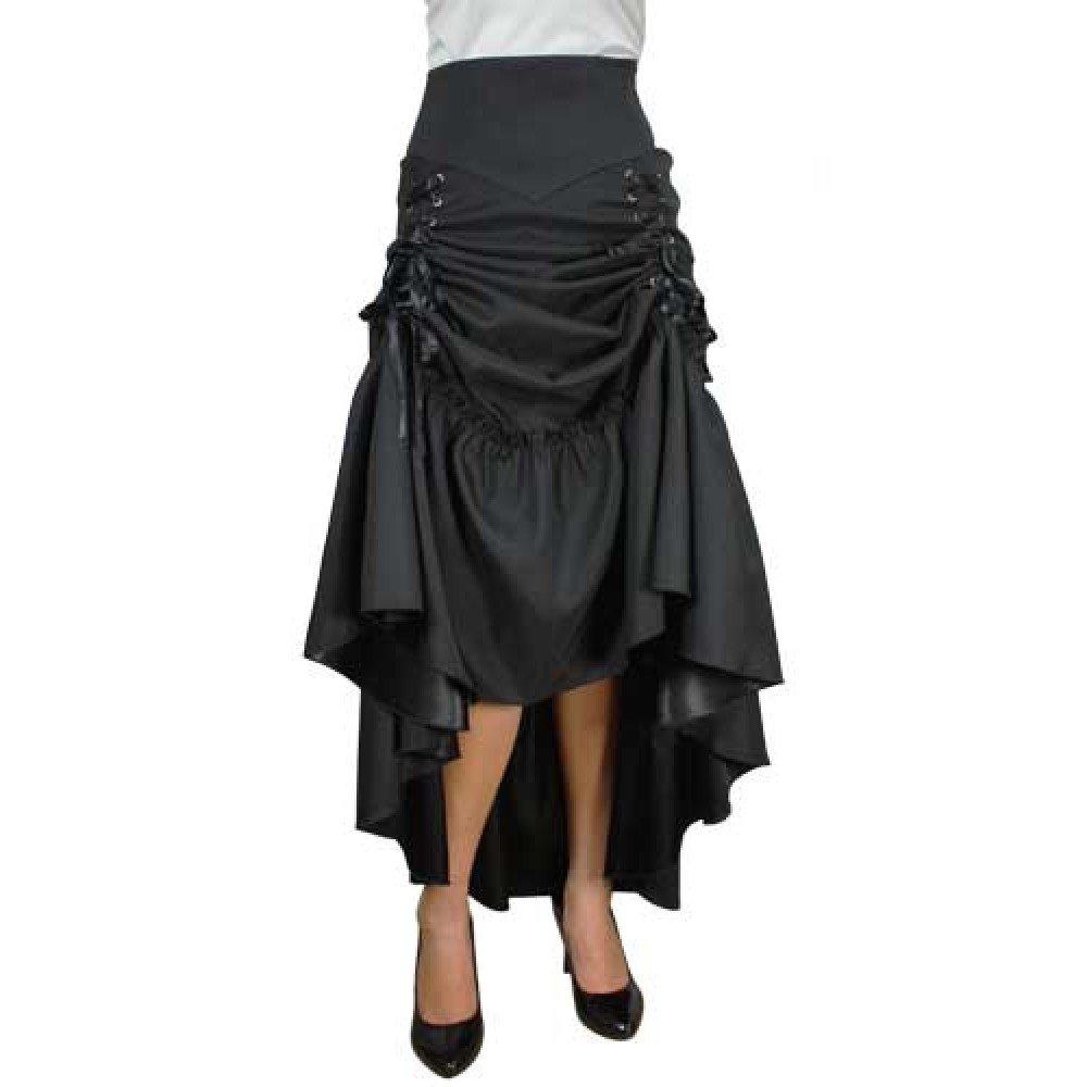 84893717e8f05 Chic Star Gothic Victorian Steampunk 3 Way Lace Up Skirt Black UK Sizes 8  to 30 Plus Size  Amazon.co.uk  Clothing