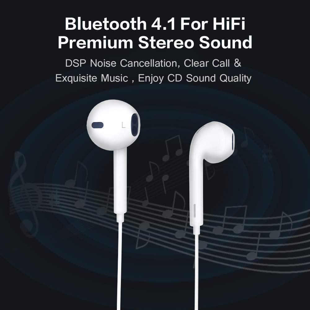 S02 Wireless Headphones 8 Hrs Playback Sport Bluetooth Headphones HiFi Stereo Sound in-Ear Anti-Fall Off Earbuds with Mic Earphones for Workout Gym Running