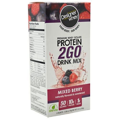 Designer Whey Protein 2Go Drink Mix, Berry mixte, 5 à 0,56 paquets de once, (pack de 2)