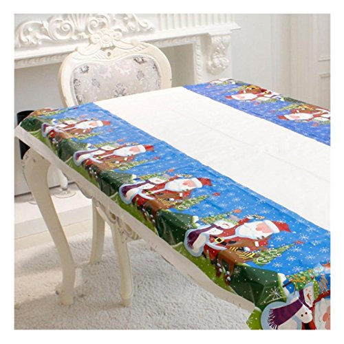 """Keepfit Christmas Rectangular Tablecloth Disposable Printing Cartoon Table Linens PVC Fancy Table Covers for all Occasions Picnics, Camping, Indoor and Outdoor 43""""x70"""" (110cm x 180cm, Santa Claus)"""