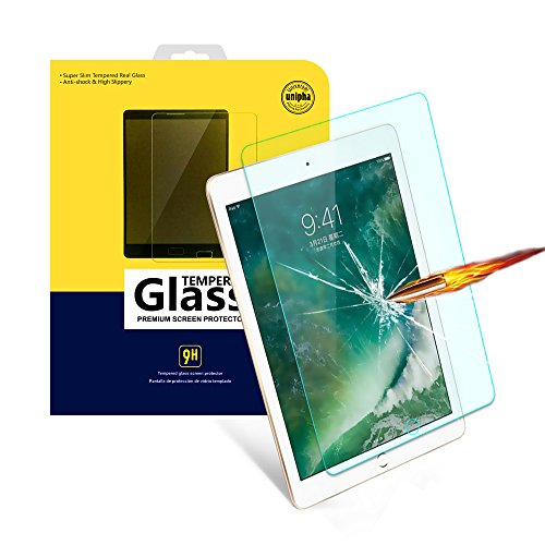 iPad 2017&2018 9.7 Screen Protector, 9H Hardness Ultra Clear [Anti-Scratch] Tempered Glass Screen Protector for for All-New iPad 9.7 (2017/2018) / Air 2 / Air 1/Pro 9.7