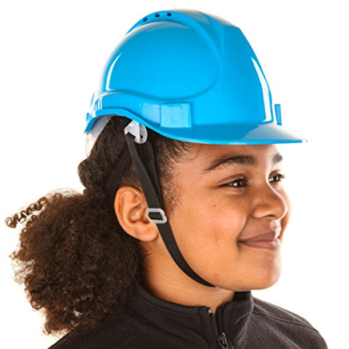 Kids Hard Hat Safety Helmet with Chin Strap One Size Adjustable Suitable for 4-12 Years The Foreman Children Pink