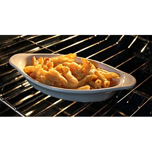 CAC Ceramic Oval Rarebit / Au Gratin Baking Dish with Pan Scraper, Set of 4, Bone White (12 Ounce)
