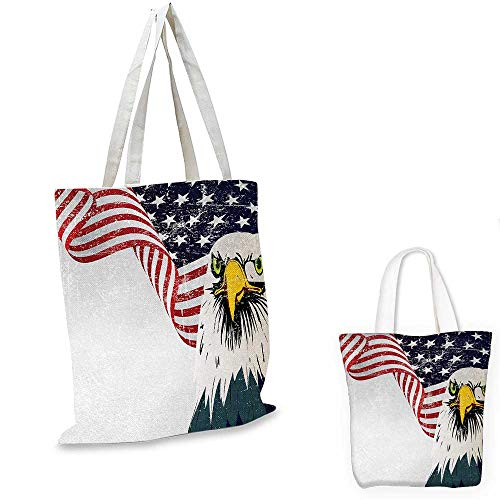 American Flag shopping tote bag American Eagle with Grunge Effect 4th of July Usa Country Independence Image travel shopping bag Multicolor. 16