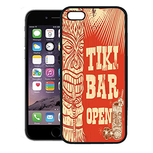 Semtomn Phone Case for iPhone 8 Plus case,Orange Hawaii Vintage Wooden Sign Tiki Bar Open Party Drink Cocktail iPhone 7 Plus case Cover,Black ()