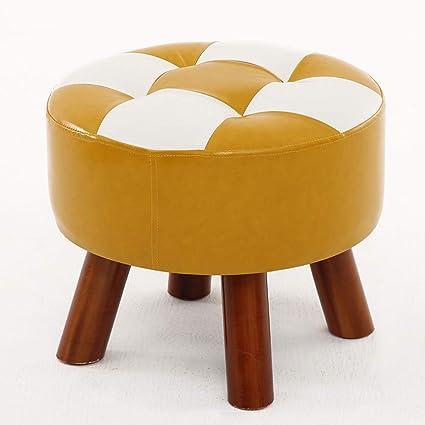 Amazon.com: AI Small Stool, Round PU Leather Footstool - Solid Wood ...