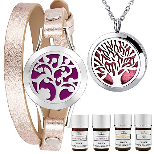 LorFain Essential Oil Bracelet and Necklace, Stainless Steel Aromatherapy Pendant Locket Bracelets Leather Band with 48 Pads in 4 Scents, Girls Women Jewelry Gift Set - Rose Gold ()