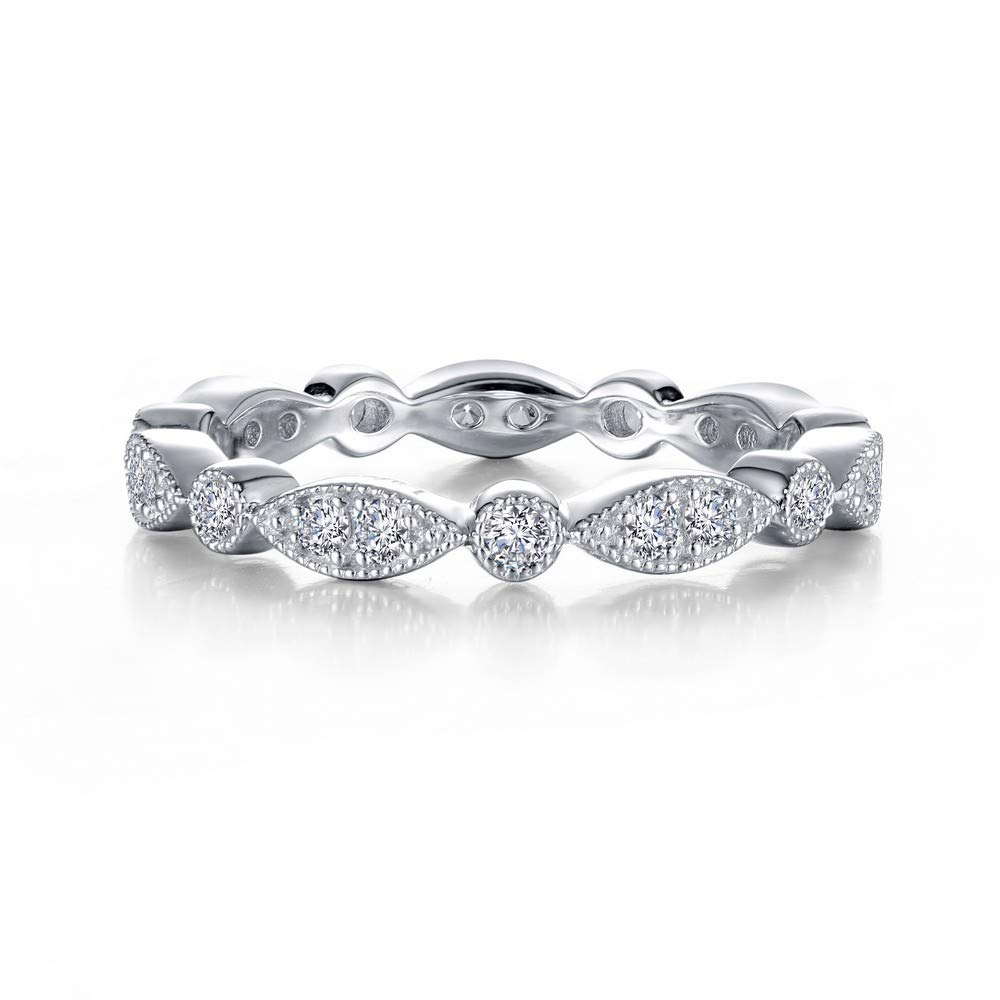 Lafonn Classic Sterling Silver Bonded with Platinum Simulated Diamond Stackable Ring (0.32 CTTW) by Lafonn