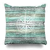 Soopat Decorative Pillow Cover 16''X16'' Two Sides Printed Rustic Coastal Decor Compass Rose Round Throw Pillow Cases Decorative Home Decor Indoor Nice Gift Kitchen Garden Sofa Bed Car