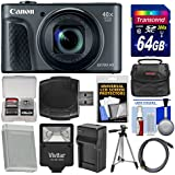 Canon PowerShot SX730 HS Wi-Fi Digital Camera (Black) 64GB Card + Case + Flash + Battery & Charger + Tripod + Kit