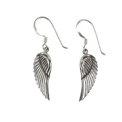 Dew Sterling Silver Angel Wings Drop Earrings YsEagpGa0U