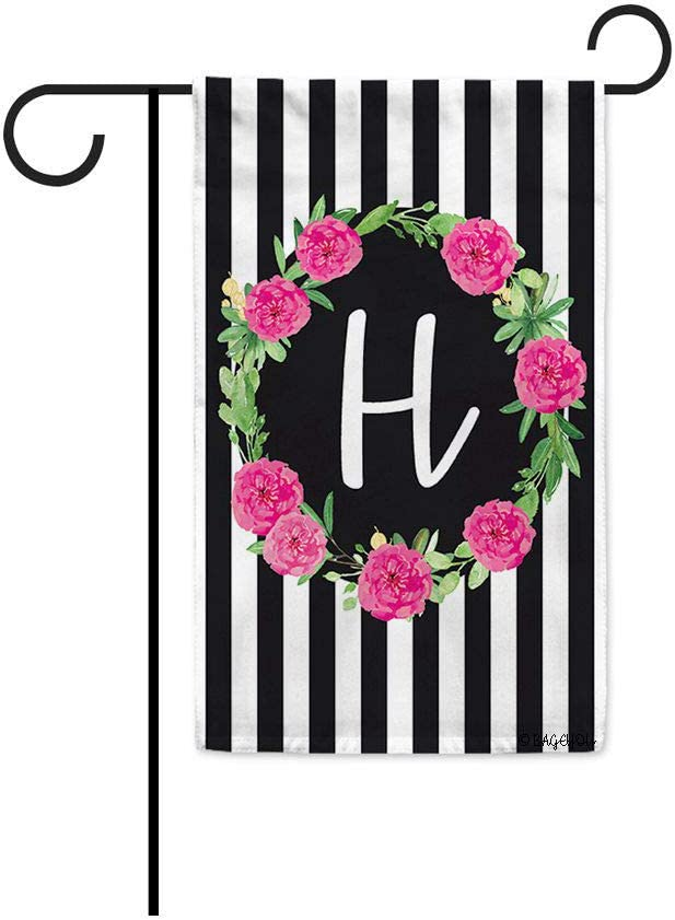 BAGEYOU Hello Summer Wreath Flower Monogram Initial H Decorative Garden Flag Stripes Seasonal Decor Yard Banner for Outdoor 12.5X18 Inch Printed Double Sided