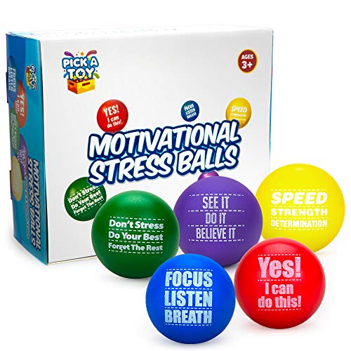 Pick A Toy Motivational Stress Balls for Kids and Adults (5-Pack) Promote Anxiety and Stress Relief | Motivate and Inspire Students, Staff, Teams | Squishy, Assorted - Ball Stress Reliever