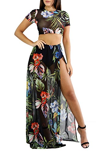 Remelon Womens Sheer Mesh Floral Short Sleeve 2 Piece Beach Split Maxi Dress Crop Top and Long Skirts Set Black L (Set Sheer Skirt)