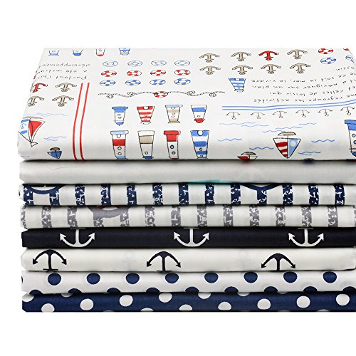 Cotton Fabric Navy Wind Sea Anchor DIY Fabric Bundle 8pcs Size 40cm x 50cm for $<!--$9.99-->