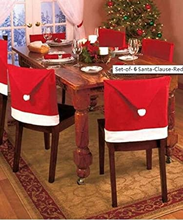 Santa Clause Red Hat Chair Back Covers For Christmas Dinner Decor 6 Pcs Per Set