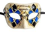light blue mardi gras mask - Men's Masquerade Mask Musical Checked Venetian Halloween Mardi Gras Party Mask (Blue)