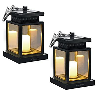 Patio Umbrella Lights - Sunklly Outdoor Waterproof LED Candle Lantern Decorated on Umbrella Tree Shepherd's Hooks (Yellow Light, Pack of 2) - ★ Perfect Shape: Antique lantern and Retro style design, Sunklly umbrella lights decorate your life and perfect show your graceful taste in any place ★ Romantic Environment: Solar umbrella lights emit a faint yellow light and keep flashing like the wind blows over candles, create a romantic and comfortable space ★ Tiny And Portable: Solar candle lantern with a cute clamp, Very durable and powerful, can be hung on umbrella, tent, tree and elsewhere, decorate your environment when you are fishing, camping, partying and so on - patio, outdoor-lights, outdoor-decor - 51cs4Er4pSL. SS400  -