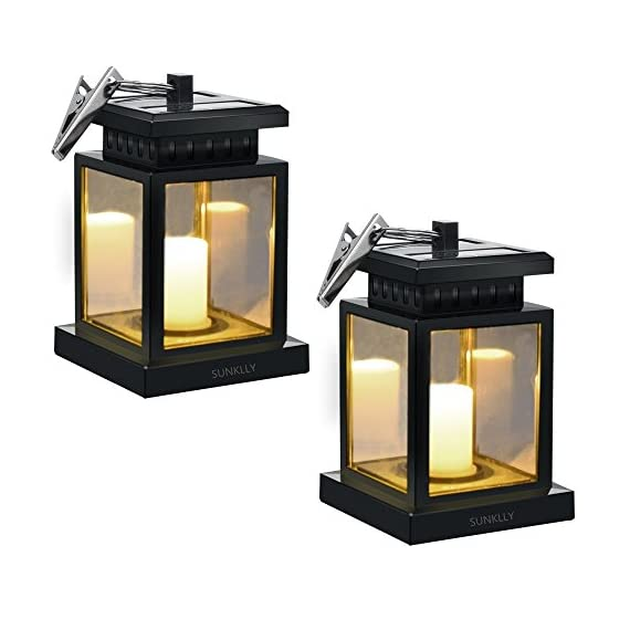 Patio Umbrella Lights - Sunklly Outdoor Waterproof LED Candle Lantern Decorated on Umbrella Tree Shepherd's Hooks (Yellow Light, Pack of 2) - ★ Perfect Shape: Antique lantern and Retro style design, Sunklly umbrella lights decorate your life and perfect show your graceful taste in any place ★ Romantic Environment: Solar umbrella lights emit a faint yellow light and keep flashing like the wind blows over candles, create a romantic and comfortable space ★ Tiny And Portable: Solar candle lantern with a cute clamp, Very durable and powerful, can be hung on umbrella, tent, tree and elsewhere, decorate your environment when you are fishing, camping, partying and so on - patio, outdoor-lights, outdoor-decor - 51cs4Er4pSL. SS570  -