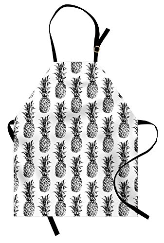 Apron, Artistic Hand Drawn Tropical Theme Vintage Style Pineapple Fruit Pattern, Unisex Kitchen Bib Apron with Adjustable Neck for Cooking Baking Gardening, Black Gray White (Vintage Style Apron Patterns)