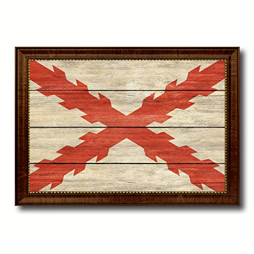 Spanish Ensign Spain Royal War Military Vintage Flag Brown Framed Canvas Print Home Decor Wall Art Gifts Signs Cards 27''x39'' by SpotColorArt