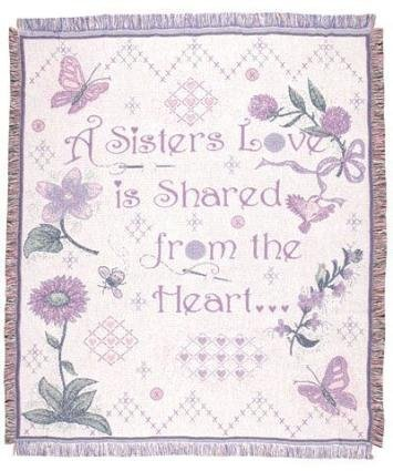 """A Sister's Love"" Garden Afghan Throw Blanket 48"" x 60"" SKU 2017 from Simply Home"