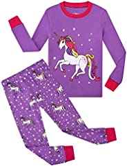 OFIMAN Little Girls Long Sleeve Pajamas Toddler Clothes Kids Pjs 100% Cotton Sleepwear 2T-7T