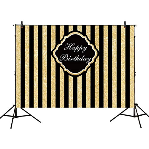 Allenjoy 7x5ft Black and Gold Glitter Stripe Backdrop for Adults Children Happy 1st First Birthday Sweet 16 Party Wall Decor Decorations Photography Pictures Photo Studio Booth Shoot Background