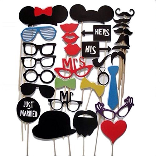 [Cosway Photo Booth Props, DIY Kit for Wedding, Birthday Party, Photo booth Accessories with Mustache, Glasses, Ties, Lips, Hat and heart-shaped Sign Dress-up ,31PCs(US] (Mardi Gras Masks Template)