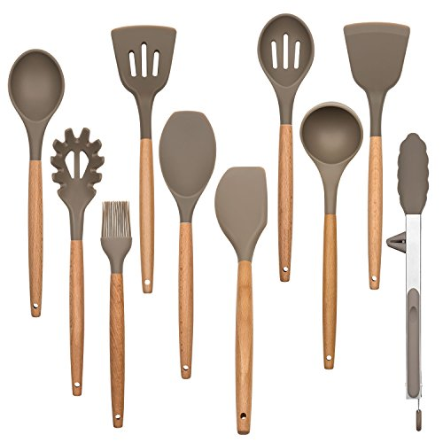 Silicone Kitchen Cooking Utensil Set, 10 Pieces Baking Set Serving Gadgets and Tools for Nonstick Cookware, Wood Handle, Housen Solutions