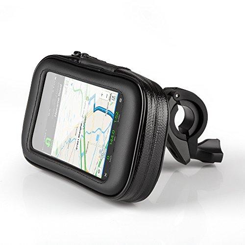 Fahrradhalterung Halter Lenkradhalterung Bike Holder mit wasserdichter Schutzhülle Tasche Universal für Smartphones, Handy, Navi, GPS, etc. von OKCS in Schwarz