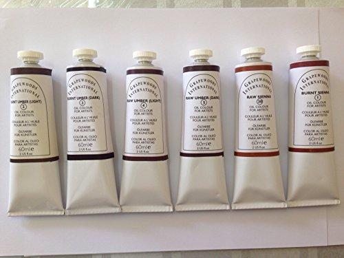 Browns,extrafine oil paint (6 handmade oil color tubes 60ml each). Burnt sienna, Raw sienna,Burnt umber light,Burnt umber dark,Raw umber light,Raw umber dark. (Light Raw Umber)