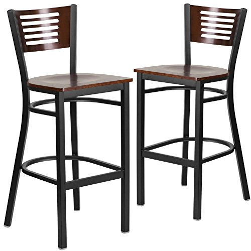 (Flash Furniture 2 Pk. HERCULES Series Black Slat Back Metal Restaurant Barstool - Walnut Wood Back &)