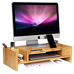 SONGMICS Bamboo 2-Tier Monitor Stand Riser with Adjustable Storage Organizer Laptop Cellphone TV Printer Stand Patented ULLD213