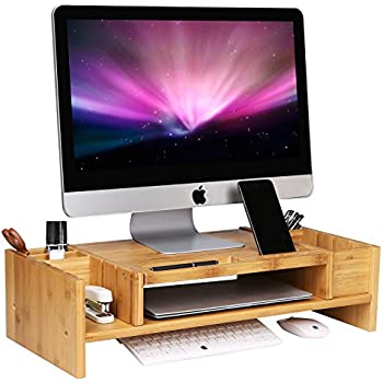 Amazon Com Songmics Bamboo 2 Tier Monitor Stand Riser