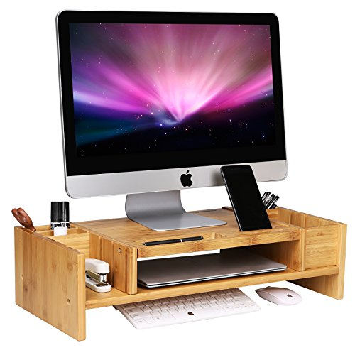 SONGMICS Bamboo 2-Tier Monitor Stand Riser with Adjustable Storage Organizer Laptop Cellphone TV Printer Stand Patented (2 Tier Riser)