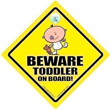 045018ace2 Amazon.com  BABY iwantthatsign.com Beware Toddler On Board Car Sign ...