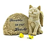 Elaan31 Cat Statue Memorial Pet Antique Stone Small Forever in our Hearts For Sale